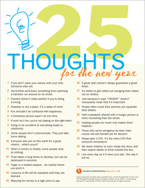 25 Thoughts for the New Year