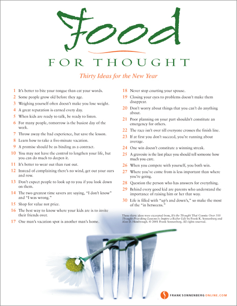 Food For Thought: 30 Ideas for the New Year