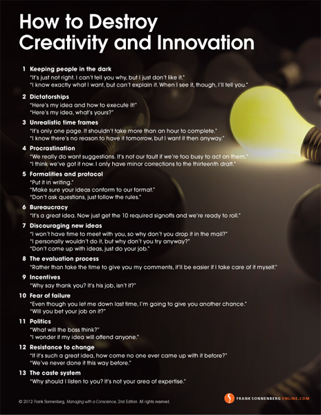 How to Destroy Creativity and Innovation