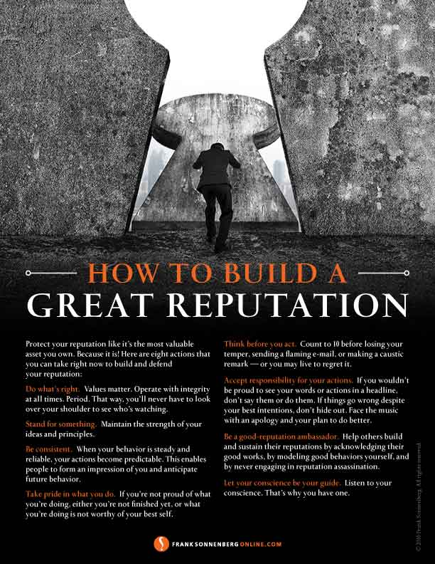 Great reputation, reputation, personal brand, Frank Sonnenberg