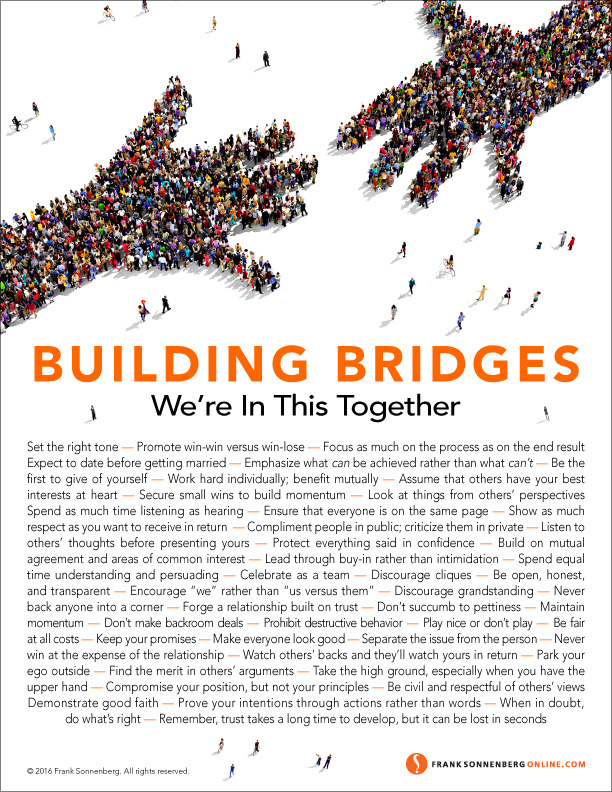 Bridges, teamwork, relationships, understanding, comradery, Frank Sonnenberg