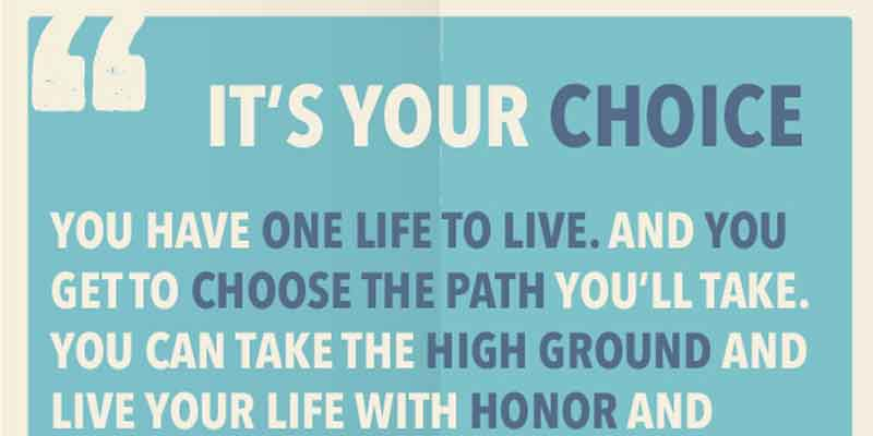 your choice, life choices, we all have choices in life, make good choices in life, path you take in life, how to live your life, live your best life, live with honor, be proud of who you are, free downloadable poster, Frank Sonnenberg